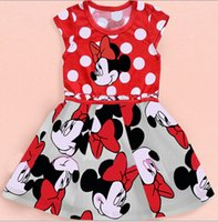 Wholesale Summer Clothing Baby Girls Dress Lovely Color Dot Mickey Mouse Minnie Dress Baby Clothes Kids clothing