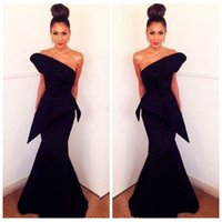 Wholesale 2016 Michael Costello Black Evening Dresses Backless Satin Mermaid Prom Formal Party Gowns Plus Size