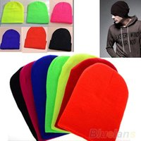 Wholesale 2014 New Fashion Knitted Neon Women Beanie Girls Autumn Casual Cap Women s Warm Winter Hats Unisex Men Warm Winter Hats