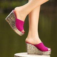 Cheap 2014 Women Platforms Wedges Flip Flop High Heels Wedges Sandals Sweet Paillette Female Bling Flock Slides Size 40 Blue Pink