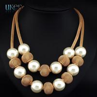 al por mayor collar de perlas de varias capas-2015 moda multi capas de palomitas de la cadena de perlas de metal bola colgantes de largo mujeres encanto joyería accesorios declaración collares N3215