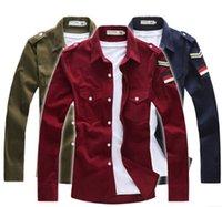 Wholesale 2015 new fall wild corduroy long sleeved Shirts Korean men shirt Slim in uniform insignia red Men s Clothing