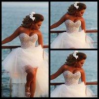 wedding grown dress - 2015 New Style Shinning Crystal Pearl Beach High Low Wedding Dresses Organza Fabric Custom Made Bridal Grown