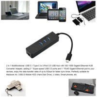 Wholesale 20PCS USB Type C type c to Gigabit Ethernet Network USB Hub port Cable LAN Adapter Black For Macbook Chromebook