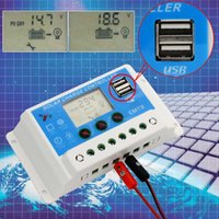 Wholesale HOT V V AUTO A LCD PWM Solar Panel Charge Controller With Dual USB V chargers A A A