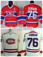 Enfants Canadiens de Montréal P.K. Chandails de Hockey Subban 76 Youth Home Rouge Blanc Cheap authentique PK Subban cousues Jersey Un Patch