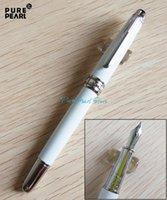 best fountain pen - PURE PEARL MB High Quality Best Design Silver Clip Fountain Pen Pure White Ceramic