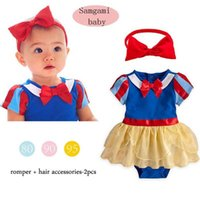 no brand Girl Summer 2015 baby clothing snow white short sleeve one-piece romper with lace+hairhand Costume Romper Dress set