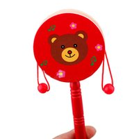 Wholesale Factory Price New Baby Kids Toys Musical Toy Rattle Wooden Educational Toy Gift Hand Drum