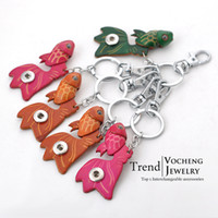 leather key ring - Vocheng NOOSA Cute Fish Colors Key Ring Genuine Cow Leather Jewelry mm Metal Snap Button Key Chains Vb