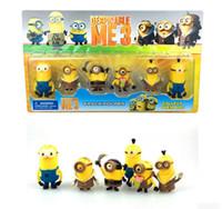Wholesale 6pcs Set Hot Cartoon Despicable Me Minions Kevin Bob Stuart cm Plastic Toys Figure Dolls Gifts Movies K4308