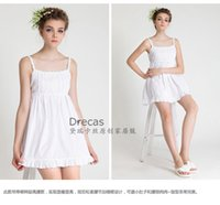cotton nightgown - Drecas Cotton Nightgown Sleeping shirt Sleep dress White Pink pajama Dress Girls Nightie Ladies Sleepwear Spaghetti strap