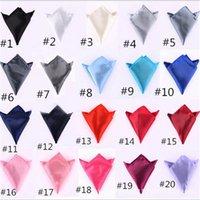 mens tie handkerchief - 22 x cm colors Mens Suit Pocket Handkerchief Formal Wear Solid Color Towel Small Satin Square Wedding Banquet Necessary Tie