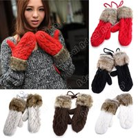 Wholesale Lady s Korean Style Women s Winter Pure Color Mitten Knitting Warm Wool Fur Halter Wrist Five Fingers Gloves SV011387