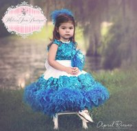 La nueva llegada linda princesa vestido de la Navidad 2015 de Blue Crew niños pequeños granos de la pluma de la mano del desfile de los vestidos de las muchachas de flores ocasión especial