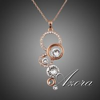 pure gold - AZORA Rose Gold Plated Pure Clear Simply Small Round Cubic Zirconia Pendant Necklace TN0046