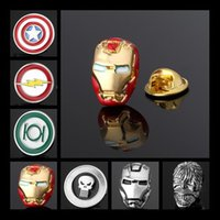wholesale brooches - Brooch Badge Lapel Pins Superhero Ironman Spiderman The Flash Action Green Lantern Captain America Punisher Hulk Silver Gold Red