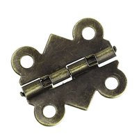 antique cabinet door hinges - 50pcs mm mm bronze color Cabinet Door antique Furniture hinge metal printing small wooden gift box hinge small holes