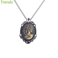 cameo necklace - Min Steampunk Vintage Style Halloween Grinning Sugar Skull Face Cameo Pendant Necklace Black Alloy Chain STPK15070