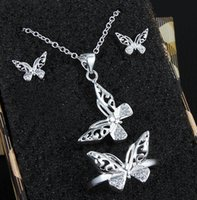 Wholesale New Sterling Silver Plated Jewelry Sets Butterfly Pendant Necklace Earring Ring Jewelry Sets Bridal Jewelry Sets Wedding Jewelry Sets