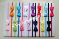 baby hair rubber bands - 100pcs baby ribbon hair bow with mini Thin Elastic headbands girl hair accessorie quot bow flower hair band slender rubber hair ties PJ5277