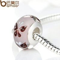 Wholesale High Quality Sterling Silver DIY Butterfly Murano Glass Beads Fit Original Pandora Bracelet Charms For Women Jewelry