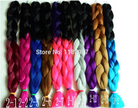 Cheap Women Big Braids X-pression Two Tone Ombre Synthetic Braiding Hair Xpression High Temperature Synthetic Hair Carnival Cosplay