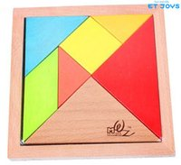 Wholesale Tangram Wooden Toys Jigsaw Puzzle Intellectual Building Blocks Kids I Q Game Brain Intelligent Toys Gift