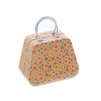 alps lighting - Small Tin Box PC Mini Light Brown Handbag Shape Colorful Flower Change Box Tin Box x5 x3 cm