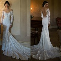 Cheap Berta Backless Lace Wedding Dresses Deep Neckline Open Back Beaded Bridal Wedding Gowns 2015 Off Shoulder Wedding Dress with Long Sleeves