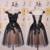 best new cocktails - New Design Black Applique Lace Homecoming Dresses Sash Knee Length Lace up Cap Sleeves Cocktail Dresses Popular Best Quality