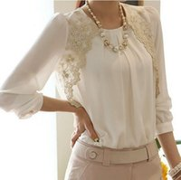 Cheap 2015 Fashion New Women Embroidery Long-sleeved Chiffon blusas Lady Casual Lace Blouse Women's clothing S M L XL XXL LS1044