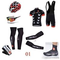 armed bike - 2015 Professional Seven Pieces Cycling Jersey Sets Short Sleeve Black Set Bike Wear With Arms Gloves Legs Helmets Shoes Covers
