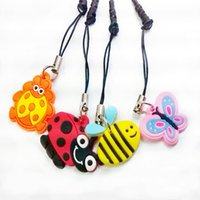 Link, Chain animated bee - Bees small butterfly animated cartoon head phone pendant dustproof plug