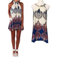 hippie clothing - Fashion Women Boho Dress Summer Loose Printed Halter Style Sleeveless Hippie Mini Dress Women Clothing Vestidos Plus Size