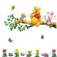 winnie the pooh - Lovely Winnie The Pooh Flowers Wall Decals Sticker PVC Removable Home Decor for Kids Nursery