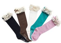 winter socks - 2014 Autumn Winter kids children baby girl socks lace high socks Princess socks Candy Color