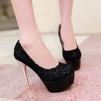 Cheap Cheap Real Image Beige Black Lace Wedding Shoes 13.5cm High Heel Bridal Shoes Custom Made Prom Party Women Shoes For Wedding 2015 LB