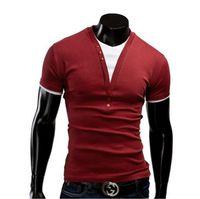 V-Neck top brand t-shirts - casual T Shirt summer t shirts T shirts Tops Mens New T shirt Fashion short Sleeve Slim Fit Men Shirt v neck Men brand
