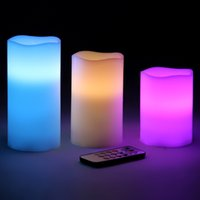 Wholesale Battery powered Flameless LED Candles Changing Colors Waterproof Candle Light with Remote Control Timer Wedding Christmas Light Gifts