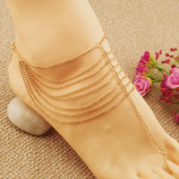 Wholesale New Fashion Barefoot Sandals For Women Gold Alloy Beach Anklets With Toe Ring One Pair Feet Jewelry Anklets Chains For Weddings