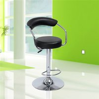 Wholesale US stock Contemporary Low Back Black Bar Stool Swivel Height Adjustment Footrest Pub Chair with Round Steel Shelf Home Decor