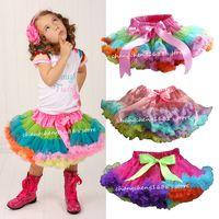 Wholesale Retail Girls Pettiskirt Children Baby Rainbow Chiffon TuTu Skirts Princess Skirt Kids Clothing