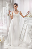 beautiful flow - 2015 Wedding Dresses Beautiful Vintage Flowing V neck Lace Sweep Train Chiffon A line Backless