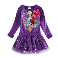 Cheap 2015 Gifts Frozen Long Sleeve Skirts Dresses Princess Elsa Baby Cotton Dress for Kids Girls Party Dress Vestido Infantil Full Dress DHL