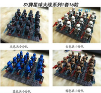 Wholesale Star Wars Blue White Clone Troopers Soldier Figures Classic Toys Hobbies DIY Building Blocks Bricks Minifigures Toy