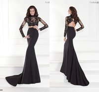 Cheap Sexy Black Lace Two Pieces Prom Dresses 2015 Tarik Ediz High Neck Long Sleeves Backless Mermaid Party Dresses Evening Gowns TE92559