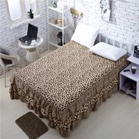 Wholesale 2014 New Factory Direct Sale High Quality Brown Leopard Grain Bed Skirt Cotton Bedclothes Full Queen Size Fitted Sheet A Single Double