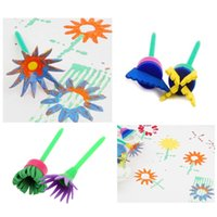 Wholesale 4pcs Creative Flower Stamp Sponge Brush Set Art Supplies for Kids DIY Painting Tools