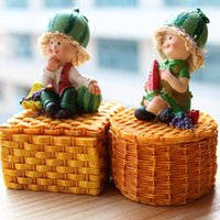 Wholesale Household rustic fruit fairy doll lovers decoration resin decoration jewelry storage box